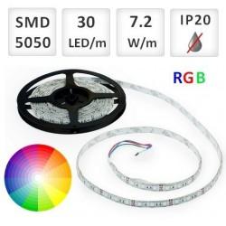 RGB LED PÁSIK 30 SMD 5050/M, 1M 7.2W/M, IP20